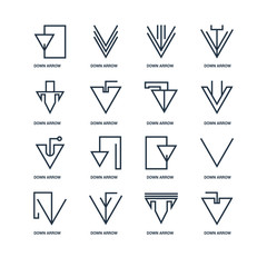 Set Of 16 outline icons such as Down arrow, arrow linear icon