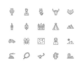Simple Set of 20 Vector Line Icon. Contains such Icons as Cactus