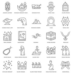 25 linear icons related to Necklace, Islamic Friday Prayer, Mosq