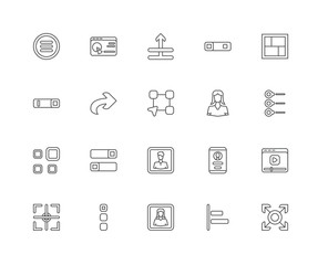 Simple Set of 20 Vector Line Icon. Contains such Icons as Fullsc
