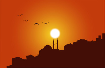 istanbul silhouette at sunset vector work