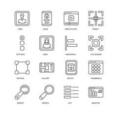Simple Set of 16 Vector Line Icon. Contains such Icons as Analys