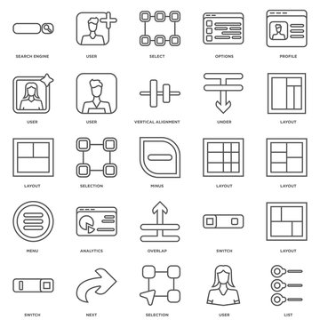 Simple Set of 25 Vector Line Icon. Contains such Icons as List,