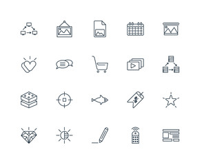 Set Of 20 Universal Editable Icons. Includes Elements Such As La