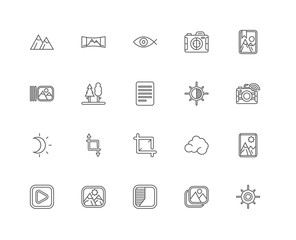 Simple Set of 20 Vector Line Icon. Contains such Icons as Sunny,