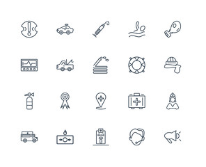 Set Of 20 outline icons such as Megaphone, Support, Hospital, Fi