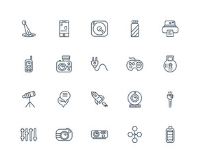 Set Of 20 outline icons such as Big Battery, Lock, Polaroid Came