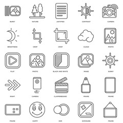 Simple Set of 25 Vector Line Icon. Contains such Icons as Frame,