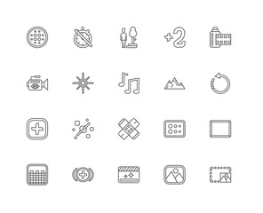 Simple Set of 20 Vector Line Icon. Contains such Icons as Photo