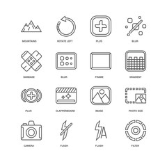 Simple Set of 16 Vector Line Icon. Contains such Icons as Filter