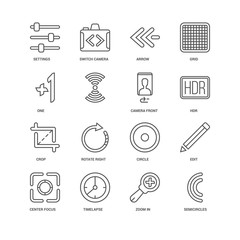 Simple Set of 16 Vector Line Icon. Contains such Icons as Semici