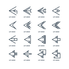 Set Of 16 outline icons such as Left arrow, arrow linear icon