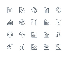 Set Of 20 outline icons such as chart, Wave, Pie graph, linear i