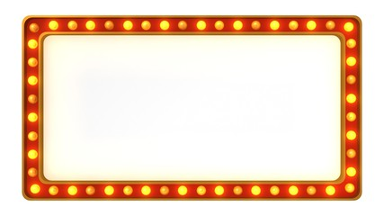 Red marquee gold light board sign retro on white background. 3d rendering