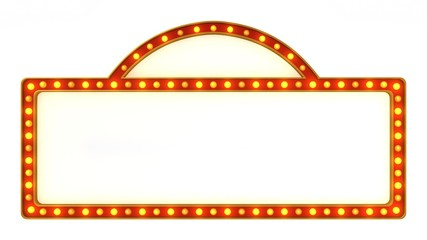 Red marquee gold light board sign retro on white background. 3d rendering Wall mural