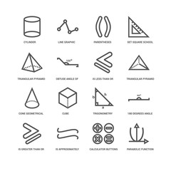 Simple Set of 16 Vector Line Icon. Contains such Icons as Parabo
