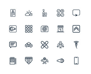Set Of 20 outline icons such as Smartphone, Up arrow fold button