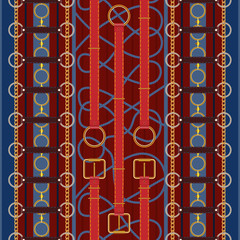 Seamless pattern with red belts, chain and braid.Vector patch for fabric design.