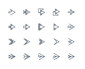 Set Of 20 outline icons such as Right arrow, linear icon pack