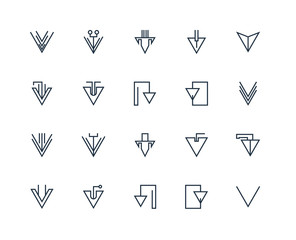 Set Of 20 outline icons such as Down arrow, linear icon pack