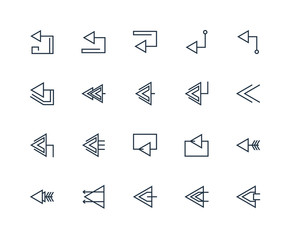 Set Of 20 outline icons such as Left arrow, linear icon pack