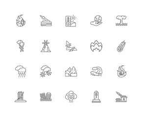 Simple Set of 20 Vector Line Icon. Contains such Icons as Meteor