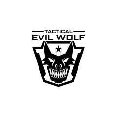 Tactical evil wolf logo design