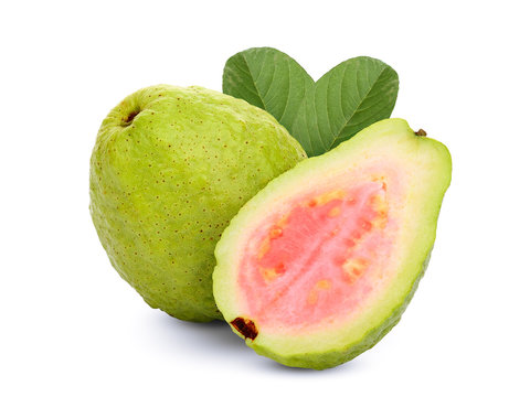 whole and half pink guava with leaf isolated on white background