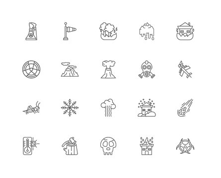 Simple Set of 20 Vector Line Icon. Contains such Icons as Biohaz