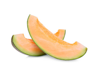 sliced japanese melons, orange melon or cantaloupe melon with seeds isolated on white background