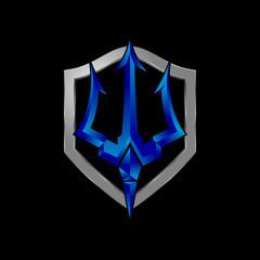Trident shield logo design metallic