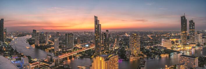 Bangkok Thailand : November 24,2018 Long exposure panorama shot with Bangkok Metropolitan in twilight time