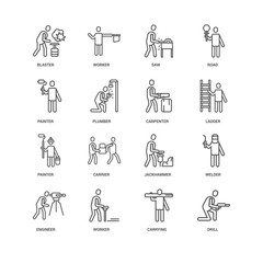 Simple Set of 16 Vector Line Icon. Contains such Icons as Drill,
