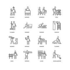 Simple Set of 16 Vector Line Icon. Contains such Icons as Wheelb