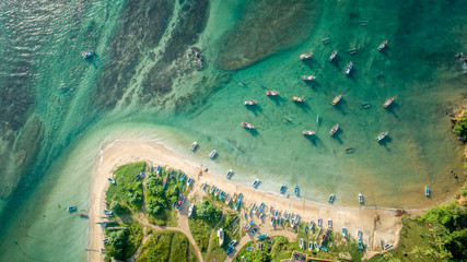 Fotobehang Eiland Aerial view of beautiful seascape with fishing boats in the coast