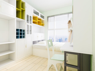 A combination of a modern bedroom and a study with a desk and bookshelf in the bedroom