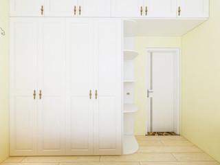 Bedroom white solid wood custom closet