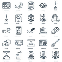 Set Of 25 Universal Editable Icons. Includes Elements Such As 3d