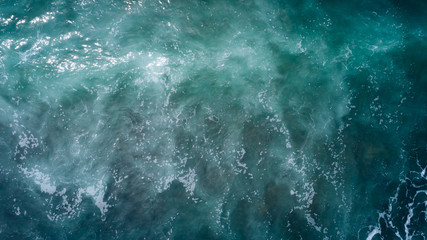 Drone aerial view of sea wave surface