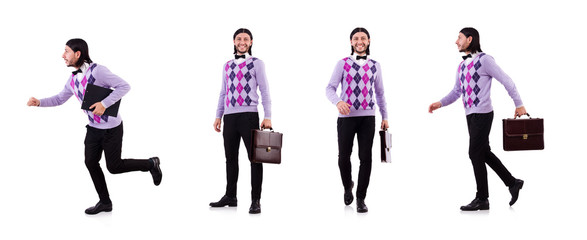 Employee with briefcase isolated on white