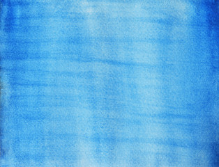 Color gradient from dark to light , Blue stains flow on white surface ,  Illustration abstract and bright background from watercolor hand draw on paper