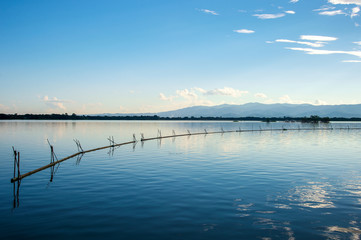 Beautiful View of Kwan Phayao, Thailand with soft-focus and over light in the background