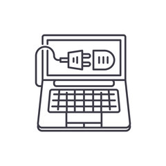 Computer connection line icon concept. Computer connection vector linear illustration, sign, symbol