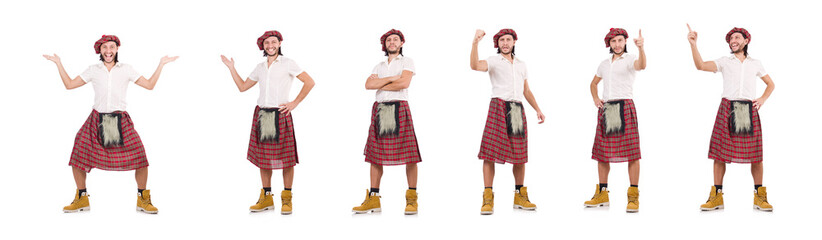 Man in scottish skirt isolated on white Wall mural