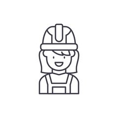 Construction master line icon concept. Construction master vector linear illustration, sign, symbol