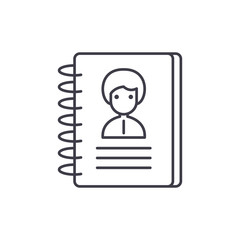 Contacts line icon concept. Contacts vector linear illustration, sign, symbol