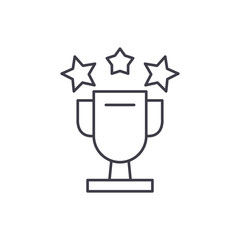 Cup awards line icon concept. Cup awards vector linear illustration, sign, symbol