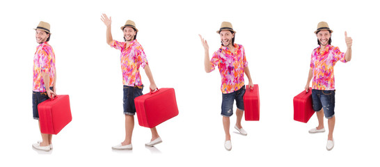 Tourist with suitcase isolated on white