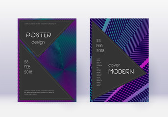 Black cover design template set. Neon abstract lin