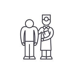 Examination of the patient by the doctor line icon concept. Examination of the patient by the doctor vector linear illustration, sign, symbol